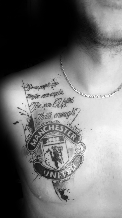 Manchester United tattoo chest